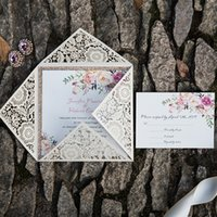 Wholesale Wedding Invitation Sky Blue - 2018 Classic Bohemian Rustic Spring Flower Glittery Rose Gold Laser Cut Invitations, Free Shipping By UPS