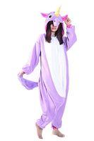 lila schlafanzug großhandel-Animal Cosplay Costume Unisex Adult Purple Unicorn Pyjamas