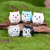 ingrosso vasi da giardino della resina-New Miniature Fairy Garden Owl Ornamento Dollhouse Vaso da fiori Decorazioni per la casa Casa bonsai gufi decori Muschio micro paesaggio Piccolo regalo mestieri della resina