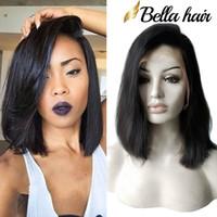 Wholesale brazilian cuticle hair - Bella Hair® Glueless Wigs Bob Cut Wigs Human Hair Bob Full Lace Wig For Black Women Full Cuticle Short Bob Lace Wigs FreeShipping