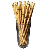 pajitas de papel amarillo al por mayor-Pajitas de papel ecológicas con estampado de bambú amarillo verde Tiki Pajitas para beber para la boda de cumpleaños Bar / Pub Party Supply