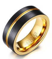 Wholesale tungsten ring brushed for sale - Group buy wedding ring mm brushed black gold Tungsten Carbide mens ring comfort fit HOT SALE in USA and Europe