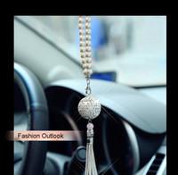 Wholesale ball suspension pendant resale online - Car Pendant Diamond Crystal Ball Automobile Decoration Charm Auto Interior Rear View Mirror Suspension Hanging Ornament Gifts