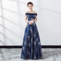 9e59cc0f9 Fashion Blue Evening party Cheongsam Dress Strapless Long Qipao women sexy  Cheongsam modern Chinese robe Feminino vestido