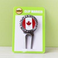 mark golf topu toptan satış-Ücretsiz Kargo Metal Golf Divot Aracı W Golf Topu Mark Kanada Bayrağı Toptan