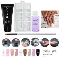Wholesale uv builder gel nails - WiRinef Poly Gel 4pcs A Kit 9 Colors 30g Uv Fast Builder Gel Uv Led Nail Polish 30ml Slip Solution Nail Tools Polygel Set