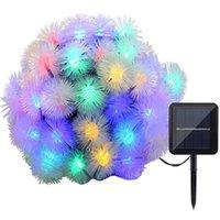 wasserdichte farbkugel großhandel-Solar Lichterketten 19.7ft Multi-Color 30 LED-Puffer-Kugel-Wassertropfen-Form-wasserdichte Solarweihnachtslichter für Haupthochzeit