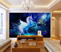 at resimleri toptan satış-Özel 3d fotoğraf duvar kağıdı 3d duvar resmi duvar kağıdı Mavi gökyüzü gökkuşağı şelale beyaz at hayvan manzara resimleri 3d duvar kağıdı