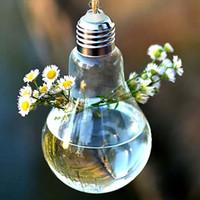 ingrosso giardinaggio bulbo-Vaso di fioriera in vetro Home Garden Ball Decor Parete Hang Terrarium Contenitore decorazione lampadina trasparente