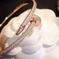 Wholesale wedding diamond chain set resale online - Luxury designer jewelry high quality silver rose gold mens womens diamond iced out nail bracelets chains
