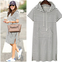 Wholesale plus size hooded dresses - Plus Size Women Hoodies Shirt Dress Summer Short Sleeve Black And White Striped Blouse Dresses Casual Work Office Dress