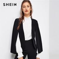SHEIN Black Poncho Office Lady Streetwear Cloak Open Front Blazer 2018 Autunno Elegante Modern Lady Workwear Donna Cappotti Capispalla