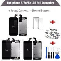 Wholesale iphone screen button - for iPhone 5 5S 5C LCD Display Tianma Quality Touch Screen Digitizer +Home Button+Front Camera Full Assembly No Dead Pixels free Shipping