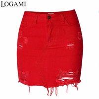 saias jeans para mulheres venda por atacado-LOGAMI Saias Jeans De Cintura Alta Womens Mini Lápis Calça Jeans Saia Primavera Verão Rasgado Sexy Mulheres Saia RedY1882501