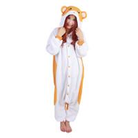 hamsterkarikatur großhandel-Cartoon Tier Niedlich Hamtaro Trotting Hamtaro Hamster Weiche Pyjamas Anime Party Halloween Cosplay Kostüm Erwachsene Onesie Nachtwäsche