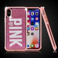 Wholesale 3d iphone case for sale - Slim Hybrid in Diamond Bling Love Pink Glitter D Embroidery Phone Case For iPhone XR XS MAX Samsung S9 plus