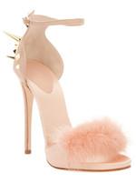 moda de moda venda por atacado-2018 nova moda sexy sapatos de salto alto tamanho grande sapatos rebites finos saltos stiletto sandálias de pele de coelho sapatos partido sapato melissa frete grátis