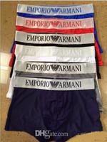 Wholesale cotton boxer boy - Famous brand Boys ARMN Men's Underwear Boxers Breathable Cotton Underpants Tight Letter Pattern Design Solid Color Underwears For Men