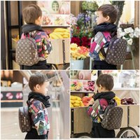 Wholesale kids book printing resale online - Hot Sale Baby Kids Backpacks Fashion High Quality PU Shoulders Bags Kindergarten Baby Boys Girls School Bags Classic Printing Book Bag