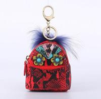 portefeuilles porte-clés achat en gros de-Nouveau charme rivet portefeuille voiture Keychain mode sac à dos chaîne pendentif creative Pu clé sac