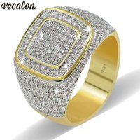 ingrosso oro giallo 925-Vecalon Luxury Big Hiphop Rock anelli per uomo Pave setting 274pcs 5A cz Pietra Yellow Gold Filled 925 argento maschio Party ring