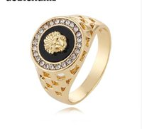 Wholesale finger rings fashion online - cool ring New Fashion Gold and Silver Colors Classic Men s Punk Style Hip Hop Ring Lion Head males man Finger rings for men women Size7