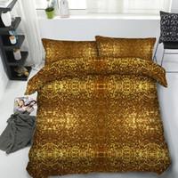 conjuntos de cama de rainha única venda por atacado-JF-472 conjunto de quarto de Luxo decoração única casa 4 pcs bling brilho dourado brilhante jogo de cama Única Rainha Super King colcha capas