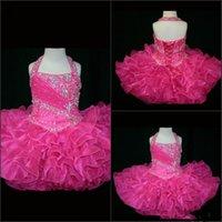fuşya pembe kız elbiseleri toptan satış-Halter 2019 Küçük Rosie Cupcake kızın Pageant Elbiseler Güzel Küçük Rosie Sıcak Pembe fuşya Glitz Yürüyor Parti doğum günü Elbiseler