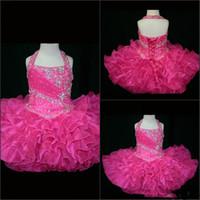 ingrosso vestiti di rosa fucsia delle ragazze-Halter 2019 Little Rosie Cupcake Girl Pageant Dresses Lovely Little Rosie Hot Pink fucsia Glitz Toddler Party Abiti da sposa