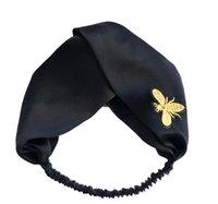 Wholesale Bee Headbands - Designer 100% Silk Cross Headband Fashion Bee Elastic Hairband For Women Girl Retro black Turban Headwraps Gifts