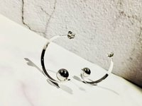 Wholesale Unique Shine - Half Hoop Circle Large Earring Unique Cool Stud Earring Young Lady Solid Silver Needle Layd Women Shining