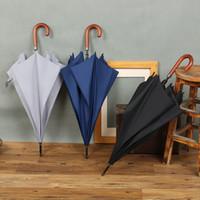 iş şemsiyeleri toptan satış-Otomatik iş golf şemsiye şemsiye ahşap el kavisli fasulye adam düz çubuk şemsiye