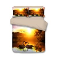 Wholesale beautiful duvet covers - Free shipping beautiful swans lake palm tree sunset pattern bedding set duvet Quilt Cover with 2 pillowcase Twin full Queen King size