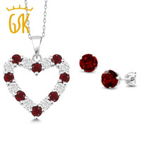 bracelet de diamant grenat achat en gros de-GemStoneKing diamant naturel et grenat rouge coeur pendentif boucles d'oreilles ensemble ensemble de bijoux en argent sterling 925 solide pour les femmes