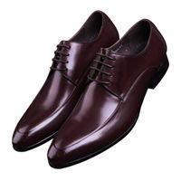 tan mens dress shoes leather 도매-패션 블랙 / 브라운 탄 지적 발가락 더비 신발 Mens Business Shoes 정품 가죽 드레스 신발