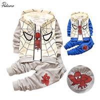 Wholesale T Shirts Boys Spiderman - Spiderman Children clothes sets Toddler Clothes cotton Hoodie+T-shirt+Pants 3pcs Set Tracksuit 2 colors