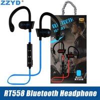 bluetooth headsets für blackberry großhandel-ZZYD RT558 Bluetooth Kopfhörer Ohrbügel Drahtlose Bluetooth Headsets Noise Cancelling Sweatproof Sport Kopfhörer für iPhone Xs X 7 8 Samsung