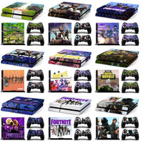 Wholesale ps4 new console - New 41colors Fortnite Battle Royal PS4 Skin Sticker For Game Machine Console and Controllers Sticker Decal Kids Decorative Sticker I340