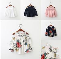 Wholesale Children Korean Dresses - 2017 Autumn Floral Girls Dress Flower Printed Ruffle Off Shoulder Kids Princess Dress Sweet Korean Children Tops C1895