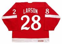 roseau rouge achat en gros de-REED LARSON Red Wings Detroit 1982 CCM Vintage Turn Back Hockey Jersey Tous cousu de haute qualité N'importe quel nom N'importe quel nombre Taille Taille Gardien