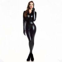 ingrosso donne latex catsuit xl-Plus XXL Size Wome's 2way zipper Catsuit in ecopelle Clubwear DS Latex Cat Women With Guanti Fancy Costume Jumpsuit