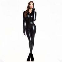 костюмы кожаные перчатки оптовых-Плюс XXL размер Wome's 2way молния искусственной кожи комбинезон клубная одежда DS латекс кошка женщин с Перчатки необычные Костюм комбинезон