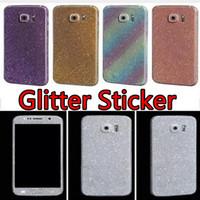 iphone decal aufkleber haut großhandel-Bling Diamond Glitter Sticker Glänzend Vorne Hinten Für iPhone 8 7 5SE 6s 6 plus für Galaxy S6 S7 edge Note 4 5