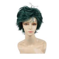 ingrosso parrucche da uomo anime-Parrucca cosplay corti dark green anime di valgo 6 pollici resistente al calore Parrucche sintetiche complete da uomo e da donna