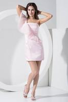 rosa organza kurze rüsche prom kleid großhandel-Eine Schulter kurze Cocktailkleider rosa Organza Rüschen knielangen Mantel formale Partei kurze Prom Kleider wd1-005
