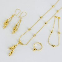 Wholesale jade ball necklace - Anniyo Small Beads Necklace Bracelet Earrings Ring for Women Girls,Fashion Charms Ball Jewelry Gold Color #055502