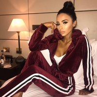Wholesale Velvet Sportswear - HGTE Women Suit Women Sportswear Spring and Autumn New Casual Fashion Track Suit Women Sets XXL Gold Velvet Women's Suits Tracksuit