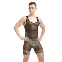 Wholesale Thin Male Underwear - KWAN.Z bodysuit men transparent gauze corset male thin lace one piece underwear cinturones de hombre nylon tight mens bodysuits