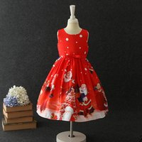 Wholesale chinese kid fashion clothes online - Baby Girls Christmas Deer Elk Print Dress Children Santa Claus Princess Dresses Fashion Boutique Kids Clothing