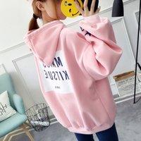 camisola coreana bonito venda por atacado-Mulheres Hoodies Moletons Pullovers Coreano Manga Longa Hoodies de Inverno Feminino Sudadera Mujer Menina Bonito Rosa Moletons Tamanho M-2XL